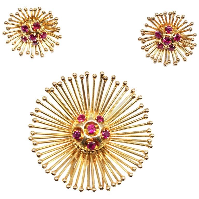Cartier Paris Retro Yellow Gold Ruby Starburst Earring Brooch Clip Set