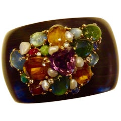 Michael Kneebone Multicolored Gemstone Pearl Diamond Ebony Cuff Bracelet