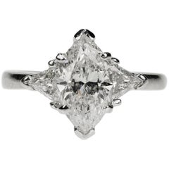 Platinum Ring with 2.04 Carat Marquis Cut Diamond