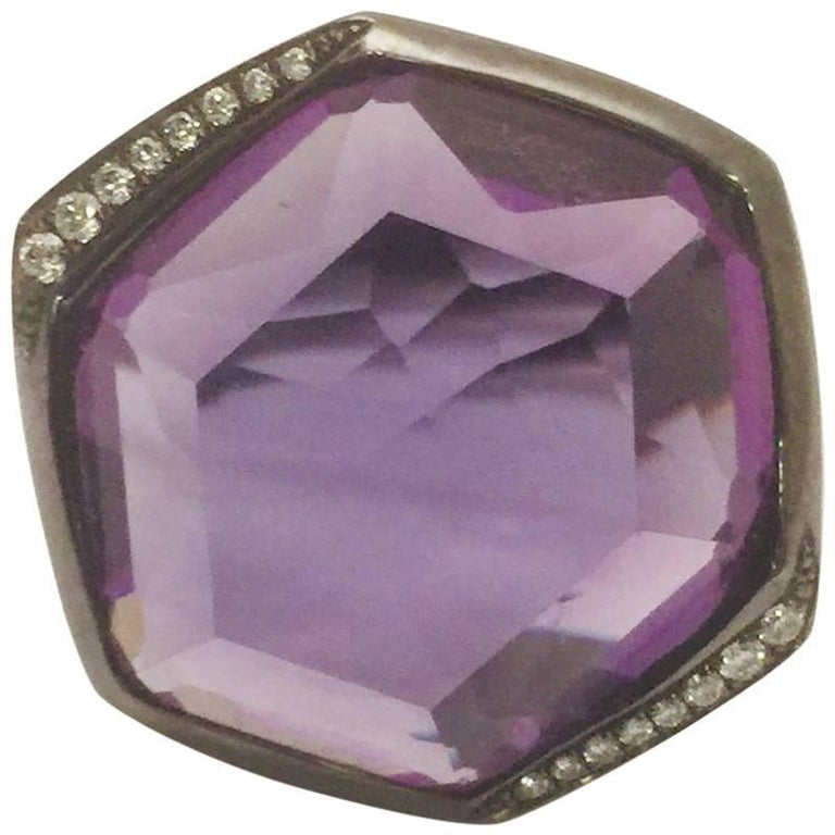 Impressive Ippolita Blackened Sterling Silver Amethyst and Diamond Ring