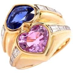 Bvlgari Natural No-Heat Heart-Shape Sapphires and Diamond Gold Ring