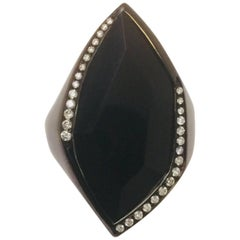 It's Ippolita! Blackened Sterling Silver Onyx and Diamond Ring
