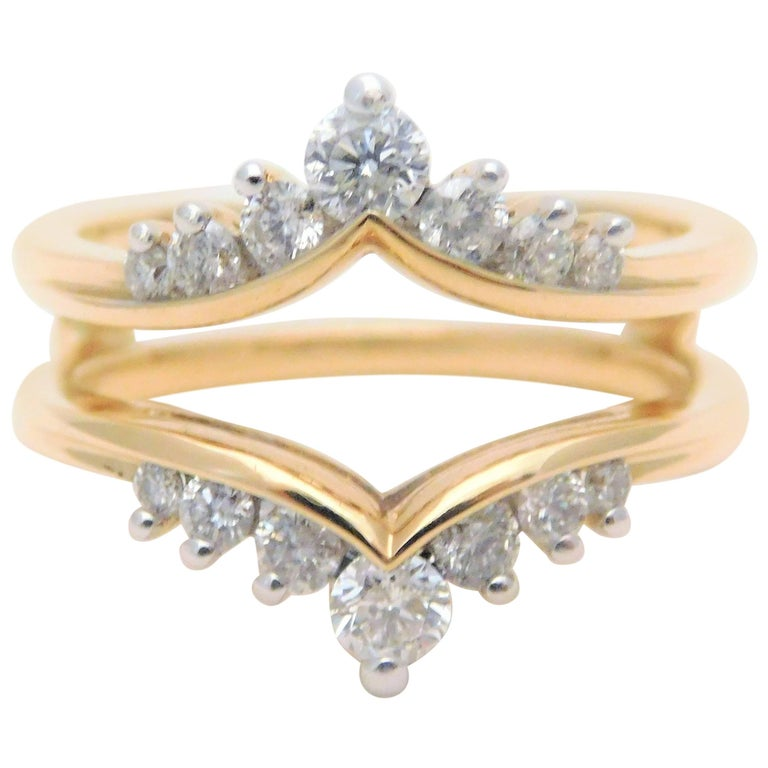 Vintage 14 Karat Diamond Engagement Ring Wrap Enhancer For