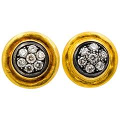 Lika Behar 24 Karat Gold, Sterling Silver 0.48 Carat Diamond Stud Earrings