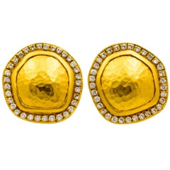 Lika Behar Reflections .74 Carat Diamonds Hammered Yellow Gold Disc Earrings