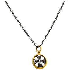 Lika Behar 24K YG, Sterling Silver Maltese Cross Pendant, 0.18 Ct Diamonds