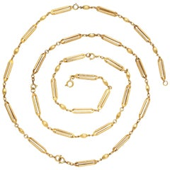 Long 18 Karat Gold Adjustable Mid-Victorian Chain
