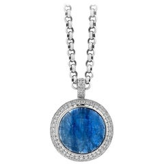 White Gold Kyanite and Diamond Halo Pendant