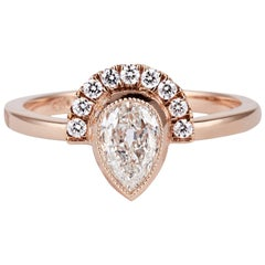 Cushla Whiting 'Holly' 0.537ct Antique Cut Pear Shaped Diamond Engagement Ring