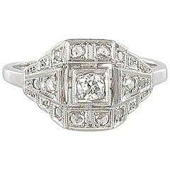 French 1930s Art Deco Platinum White Gold Diamond Ring