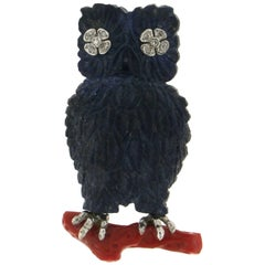 Owl Lapis White Gold Diamonds Brooch