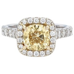 White Gold and Yellow Diamond Engagement Ring