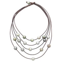 Vincent Peach Tahitian Pearl and Pave Diamond Constellation Necklace