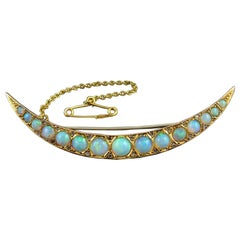 Antique Edwardian Opal and Diamond Crescent Brooch, Hallmarked Birmingham, 1909