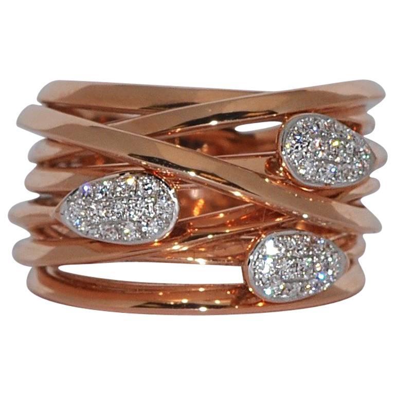 Diamonds 0.32 Carat and Rose Gold 18 Carat Cocktail Ring
