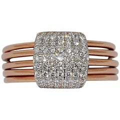 Diamonds 0.55 Carat and Rose Gold 18 Carat 5 Articulated Rings
