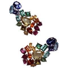 White Gold Sapphire Rubelite Tanzanite Tourmaline Aquamarine Dangle Earrings