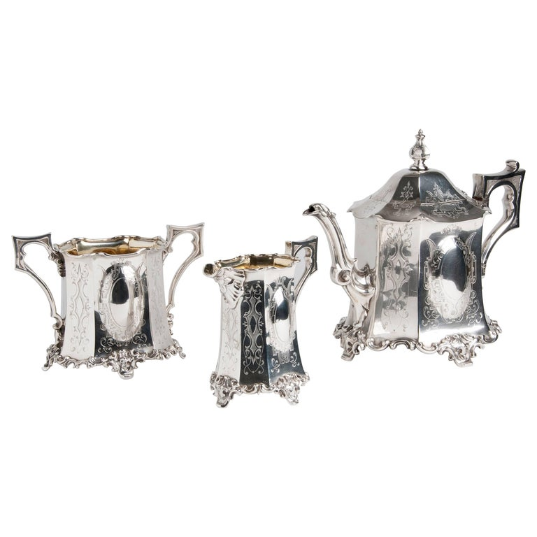 Exceptional Sterling Silver '925‰' Tea Service, Joseph Angell & Son, 1845-1846 For Sale