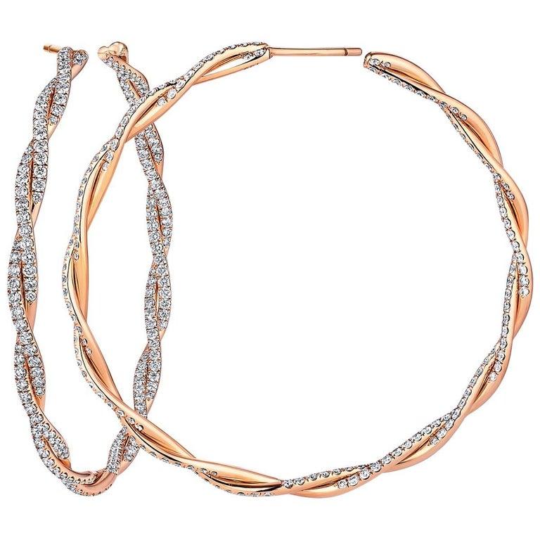 Diamond Gold Twisted Large Hoop Earrings