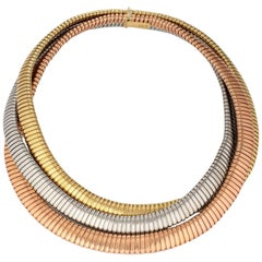 Tri-Color Gold Three-Strand Tubogas Vintage Necklace