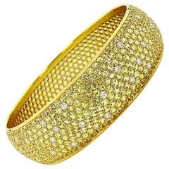 Yellow Sapphire and Diamond Bangle