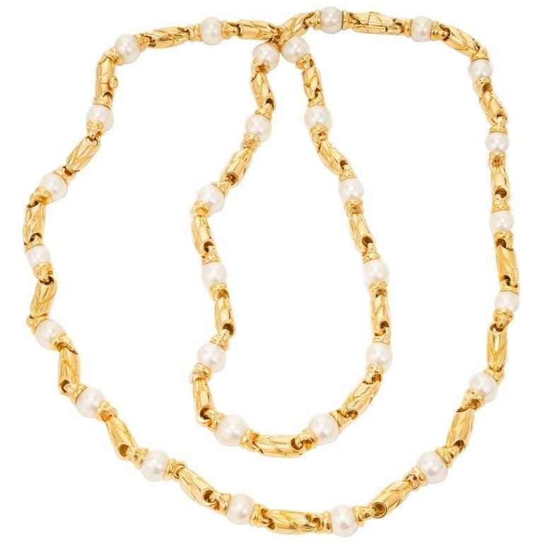 Bulgari Passo Doppio Pearl Gold 2 Necklace Set For Sale