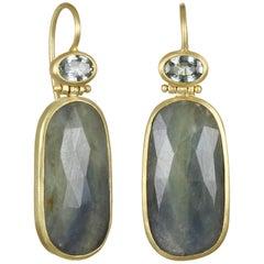 Faye Kim Blue-Green Sapphire Gold Drop Earrings