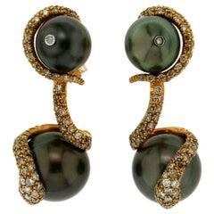 Tahiti Pearls Yellow Gold Diamonds Drop Earrings