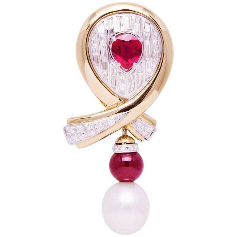 Ella Gafter White and Yellow Gold Ruby Pearl Diamond Bow Brooch Pin