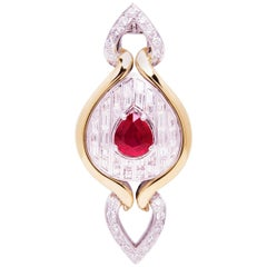 Ella Gafter Ruby and Diamond White and Yellow Gold Brooch Pin