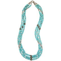 Rebecca Koven Turquoise Diamond Bamboo Necklace