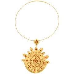 Gold Coral Flame Pendant Necklace