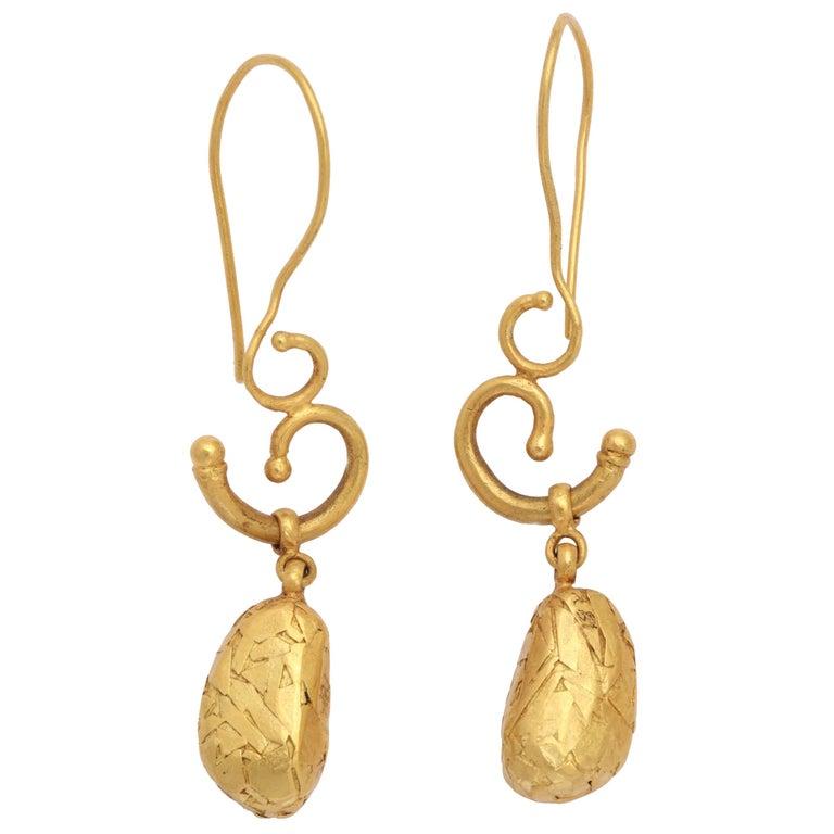 Gold Pebble Earrings