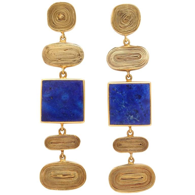 Rebecca Koven Congold Lapis Swirl Earrings