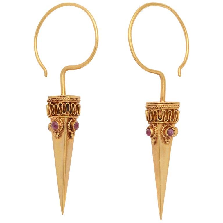 Gold Ruby Spike Earrings