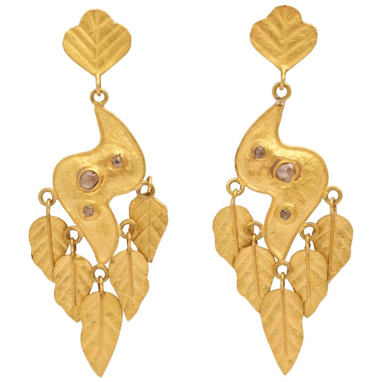 Gold Diamond Leaf Chime Earrings