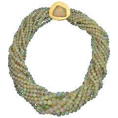 Rebecca Koven Opal Gold Necklace