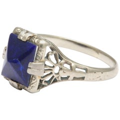 1930s White Gold and Lapis Ring