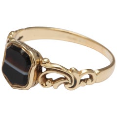 Banded Agate Shield Ring with Hidden Locket Compartment
