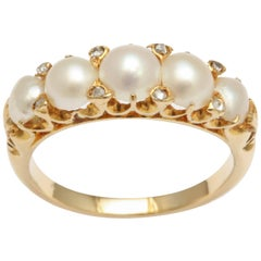 Pearl and Diamond Victorian Ring