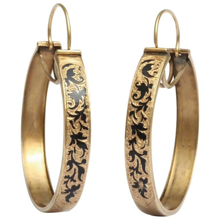 Victorian Enameled Hoop Earrings
