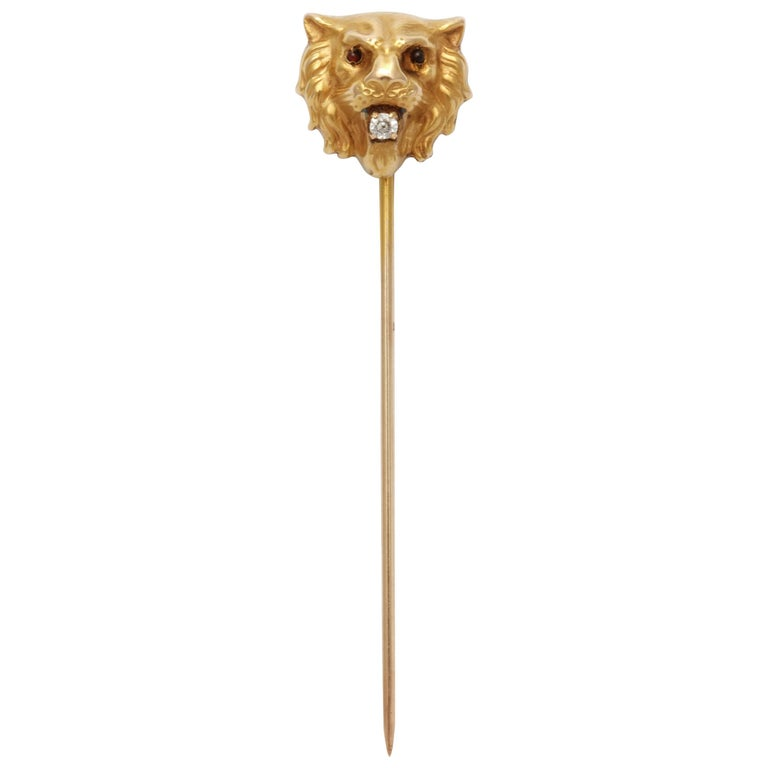 Garnet Eyed Lion Stickpin with Diamond in His Mouth
