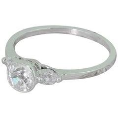 Midcentury 0.78 Carat Old Cut Diamond Engagement Ring, French, circa 1950