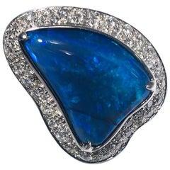 Outrageous Opal and Diamond Ring 18 Karat Custom-Made
