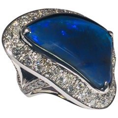 Outrageous Opal and Diamond Ring 18 Karat Custom-Made