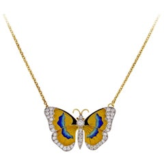 Van Cleef & Arpels Diamond Enamel Butterfly Necklace-Brooch