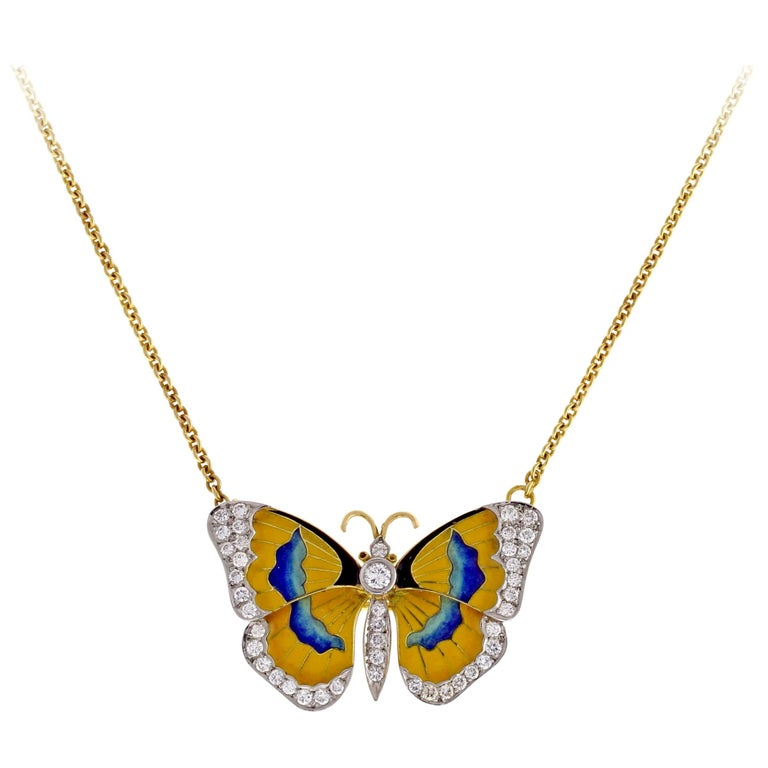 Van Cleef & Arpels Diamond Enamel Butterfly Necklace-Brooch For Sale