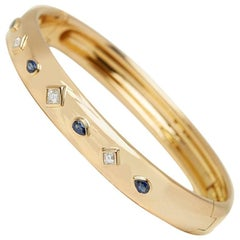 Cartier 18 Karat Yellow Gold Sapphire & Diamond Must De Cartier Bracelet