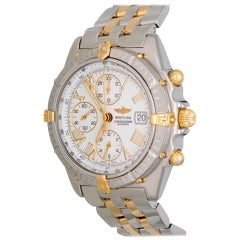 Breitling Yellow Gold Stainless Steel Crosswind Chronograph Automatic Wristwatch