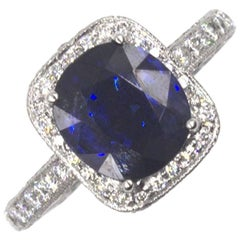 Natural 3.31 Carat Sapphire Diamond Platinum Ring GIA Certificate